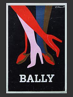 Bally Legs Noir poster by Bernard Villemot, 1979 - http://www.fearsandkahn.co.uk/ballydance.htm