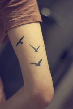 fuckyeahtattoos:    This is my first tattoo, done a year and a half after my dad committed suicide. The birds represent me, my mum and my dad, and that we will always be together even if he's not with us anymore.