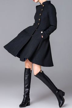 Fantiow Black Button Down Skirted Coat | Coats at DEZZAL Click on picture to purchase!