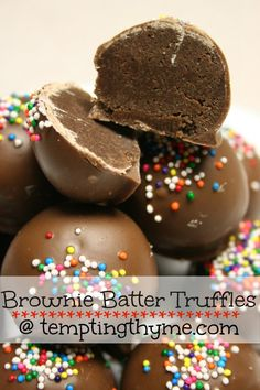 Brownie Batter Truffles. Should be good...the cake batter truffles turned out…