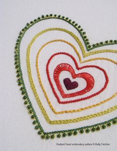 Radiant Heart hand embroidery pattern