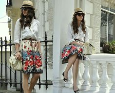 white blouse floral skirt
