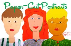 Collage portraits.  I love the way she has the students create their own templates for the head, hair, etc.