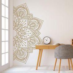 Mandala in Half Wall Sticker, Wall Decal, Decor for Home, Studio, Removable Vinyl Sticker for Meditation, Yoga Wall Art #11