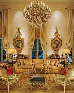 Stunning 19th-century gilt mirrors balance this formal drawing room | design by Craig Wright, photo by David O. Marlow | Architectural Digest...