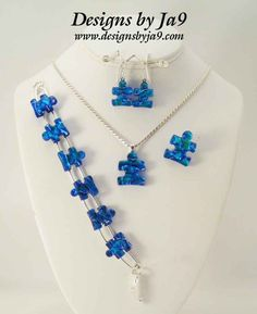Autism Speaks Logo Dichroic Glass, blue puzzle piece jewelry