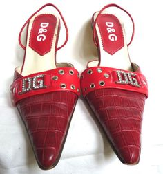 DOLCE-GABBANA-D-G-red-LEATHER-winklepickers-KITTEN-HEEL-sling-back-shoes-39