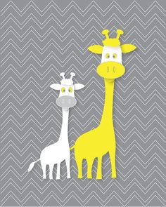 Kids wall art  8X10 gray yellow chevron giraffe by walstonprints, $12.00