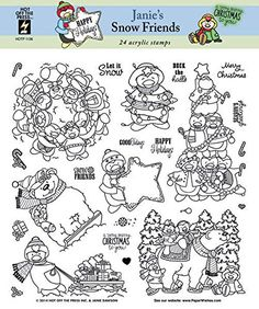 Hot Off The Press Acrylic Stamps, 8 by 8-Inch, Janie's Snow Friends ** Click image for more details.