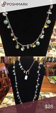 Lia Sophia Beach house necklace Yellow and Blue/green beads Lia Sophia Jewelry Necklaces