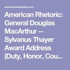 Rhetorical analysis douglas macarthur duty honor country essay
