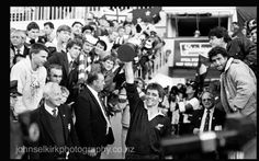 All Black captain David Kirk holds the 1987 RWC Eden Park. David Kirk, All Blacks Rugby, Eden Park, New Zealand, Concert, Sports, World Cup Fixtures, Hs Sports, Concerts