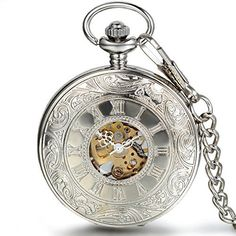 JewelryWe Silver Half Hunter Classic Hand Wind Mechanical Roman Pocket Watch with 15 Chain ** Click on the image for additional details.