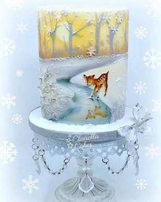 Sunset Christmas Cake Class - Airbrushing & handpainted by Clairella Cakes. Inspired by a vintage Christmas Card design. Gorgeous Cakes, Pretty Cakes, Cute Cakes, Amazing Cakes, Crazy Cakes, Fancy Cakes, Winter Torte, Winter Cakes, Airbrush Cake