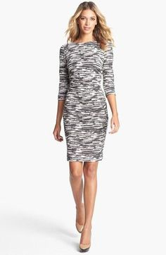 Love this print!  Nicole Miller Jacquard Ponte Knit Sheath Dress