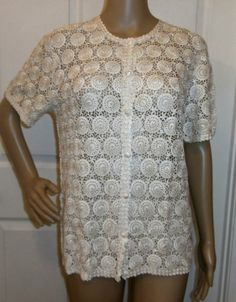 GORGEOUS VINTAGE WOMEN'S IVORY CROCHET TUNIC TOP BLOUSE SHIRT EXCELLENT! http://r.ebay.com/5DUiy8