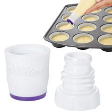 Perfect Fill Batter Dispenser from Wilton. make cupcakes without spooging all over the top of the pan!