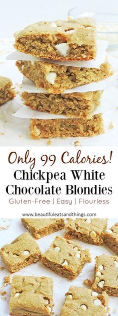 ONLY 99 calories!! These Flourless Chickpea White Chocolate Blondies are a great gluten free dessert option! Super yummy!! gluten free dessert recipes | blondie recipes | healthy dessert ideas | flourless dessert recipes | clean eating desserts | low calorie desserts | healthy brownie recipes | easy dessert recipes | chickpea dessert recipes | healthy chickpea recipes | |chickpea brownies