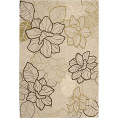 Melody 36 x 56 Floral Hand-Hooked Rug - Beige