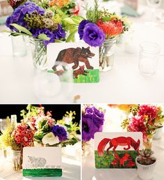 Check out this beautiful wedding featured on Green Wedding Shoes that uses Eric Carle prints on the tables!