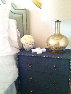 Beautiful, Charcoal linen and brass nailhead trim on an Ikea Rast sidetable #hack #upholstery