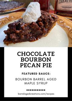 Chocolate Bourbon Pecan Pie with Bourbon Barrel Aged Maple Syrup - recipes - Chocolate Bourbon Pecan Pie, Coconut Hot Chocolate, Chocolate Recipes, Chocolate Bars, Chocolate Syrup, Dessert Simple, Pie Recipes, Dessert Recipes, Desserts