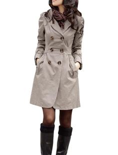 Amazon.com: Allegra K Long Sleeve Notched Lapel Belted Trench Coat for Lady: Clothing $23.06 | feminine trench coat
