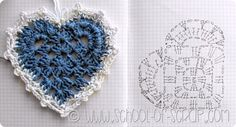 We love hearts, and better if they are made from crochet! To those who are crochet heart lovers, we made a compilations of hearts and their diagrams, from the net. Crochet Motifs, Crochet Diagram, Crochet Chart, Crochet Squares, Thread Crochet, Crochet Doilies, Crochet Flowers, Crochet Granny, Crochet Hippie