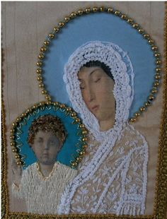 I ❤ embroidery . Russian Icon swap for Kate close-up ~By crazyQstitcher Russian Icons, Viking Ship, Crazy Quilting, Blessed Mother, Mother And Child, Beading, Fox, Crafty, Quilts