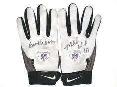 Michael Wilhoite San Francisco 49ers Game Worn & Signed Gray & White Nike Gloves