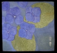 Karen Illman Miller, of Corvallis, works in Japanese katazome resist dyeing. This depiction of hydrangeas also has quilted details.