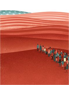 Davide Bonazzi - Immigration to USA. Client: The Boston Globe. AD Nathan Estep. Conceptual, editorial illustration