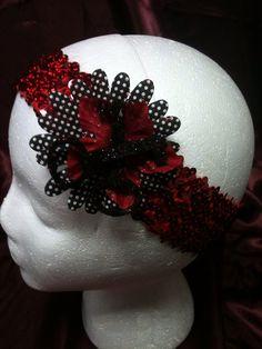 Handmade adult or child stretchy sequin headband Double Keys  design on Etsy, $3.00
