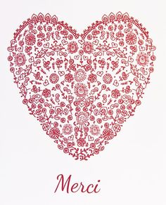 Valentine's Red Heart - set of 6 cards - Hand drawn Red silhouette Folk Love… Thank You Quotes, Thank You Cards, Attitude Of Gratitude, Love Heart, Note Cards, Decir No, Holiday Gifts, How To Draw Hands, Creations