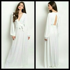MovingSale!  White Maxi Dress The price below is the sale price.   So beautiful!!!  This is truly an amazing maxi. Elegant and sexy, detailed with cuffed long sleeves, a- line cut bottom, and a sewn in sash. Made of 95% polyester & 5% spandex. NWOT   THIS IS THE EXACT MAXI AS SHOWN ON THE MODEL.  Available in sizes Small, Medium, Large. Please ask for measurements to ensure a great fit.  Made in the USA MissUnderstood Boutique Dresses Maxi