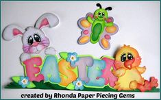 EASTER EGGS  boy girl  title scrapbook  premade paper piecing by Rhonda
