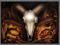 Ram skull under fire airbrush painting
