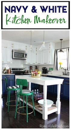 Modern Kitchen • Navy & White Painted Cabinets • DIY Island • Kelly Green and Brass Accents