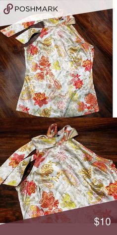 Blouse A sleek satin floral halter top with a chic, high halter neckline. Wide straps tie over the back keyhole. Fashion Tips, Fashion Design, Fashion Trends, Neckline, Satin, Summer Dresses, Chic, Floral, Outfits