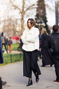 oversized white coat, baggy culottes & patent boots #style #fashion #streetstyle