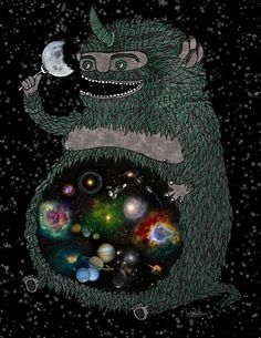 """Fat space monster noms the moon """"Space Junkie"""" by Nichole Lillian Ryan"""