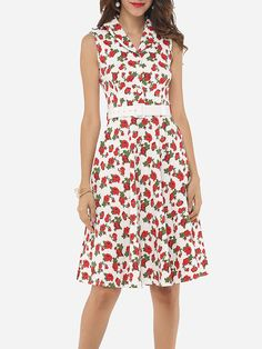 #AdoreWe #FashionMia Skater Dresses - FashionMia Floral Printed Captivating Small Lapel Skater Dress - AdoreWe.com