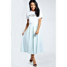 Boohoo Bea Box Pleat Midi Length Scuba Skater Skirt ($16) ❤ liked on Polyvore featuring skirts, mint, box pleat skirt, midi skirt, high waisted circle skirt, pleated skater skirt and pleated skirt