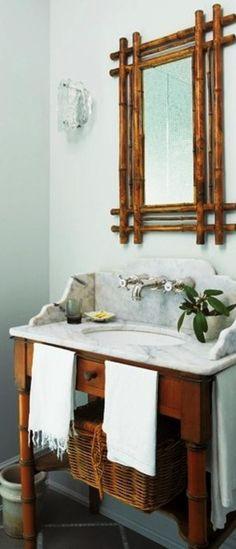 Bamboo bath I like the mirror