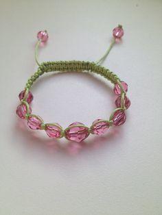 Swarovski Crystal Rose Macrame bracelet on Lime Green Cord, Shamballa Macrame Swarovski crystal braclet on colored cord. on Etsy, $22.00