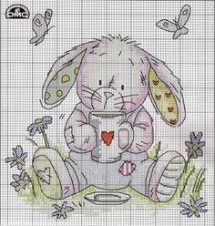 free cross stitch pattern: some bunny loves you Cross Stitch For Kids, Cute Cross Stitch, Cross Stitch Animals, Cross Stitch Charts, Cross Stitch Designs, Cross Stitch Patterns, Cross Stitching, Cross Stitch Embroidery, Easter Cross