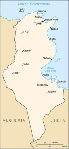 Mapa Tunezji Tunezja Sousse Morza