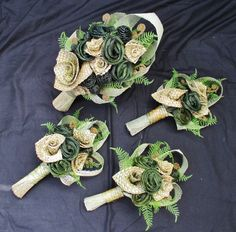Bridal Bouquets - Fabulous Flax Very kiwi woven flax flowers, fern and korus bridal bouquet and bridesmaids