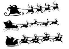 Stock photo: Silhouette Illustration of Flying Santa and Christmas Reindeer
