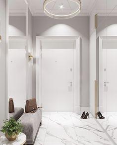 Flooring White Marble Interior Design Ideas For 2019 Marble Interior, Hall Interior, Apartment Interior, Bedroom Apartment, Home Room Design, Home Interior Design, Living Room Designs, House Design, Home Decor Furniture